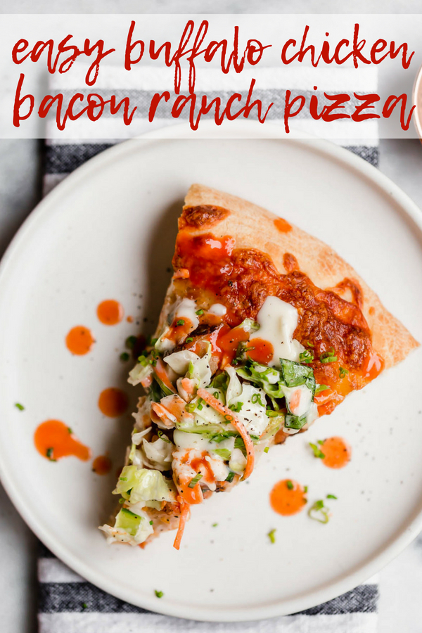 easy buffalo chicken bacon ranch pizza. the easiest buffalo chicken bacon ranch pizza, topped with a fresh & crunchy salad for a fun twist on pizza night! with only 5 ingredients, this buffalo chicken bacon ranch pizza is perfect for an easy weeknight pizza dinner & great for game day parties this fall! #playswellwithbutter #homemadepizza #buffalochickenpizza #chickenbaconranchpizza #pizzanight #easypizzarecipe #easydinnerrecipe #gamedayfood #partyfood