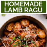 Braised Lamb Ragu with text overlay for Pinterest.