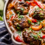 skillet red curry with ginger turkey meatballs