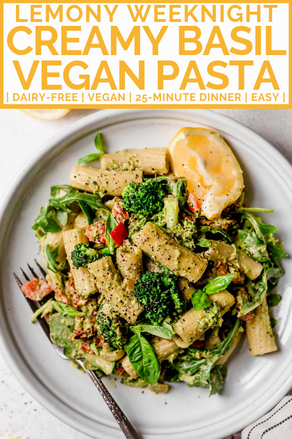 creamy vegan pasta made in 25 minutes or less!!! perfectly al dente vegan pasta tossed with sauteed bell pepper, broccoli, sundried tomatoes, & an easy homemade lemony basil creamy vegan pasta sauce made from cashews. the easiest healthy pasta recipe - totally dairy-free, vegan & filled with veggies! #creamyveganpasta #easycreamyveganpastasauce #veganrecipes #vegandinner #easyveganrecipes #healthyveganrecipes #plantbased #veganpasta #dairyfree #dairyfreerecipes