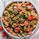 vegan southwest pasta salad in a bowl.