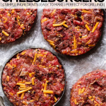 stuffed bacon cheddar burger patties with graphic text overlay for pinterest