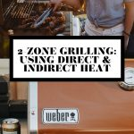 Jess of Plays Well with Butter using grill tongs to grill food and a close up of a Weber Gas Grill with graphic text overlay for Pinterest.