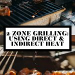 A grilled burger being flipped on a gas grill and a close up of grilled chicken wings with graphic text overlay for Pinterest.