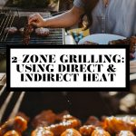 Jess of Plays Well with Butter taking a kebab off of a gas grill and a photo of grilled chicken wings on grill grates with graphic text overlay for Pinterest.