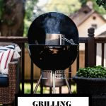 A Weber Charcoal gril open with a charcoal chimney inside with graphic text overlay for Pinterest.
