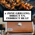 Grilled chicken wings and grill tons and a photo of a Weber Gas grill with graphic text overlay for Pinterest.