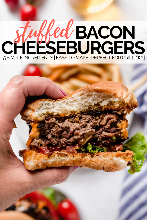 stuffed bacon cheddar burger with graphic text overlay for pinterest