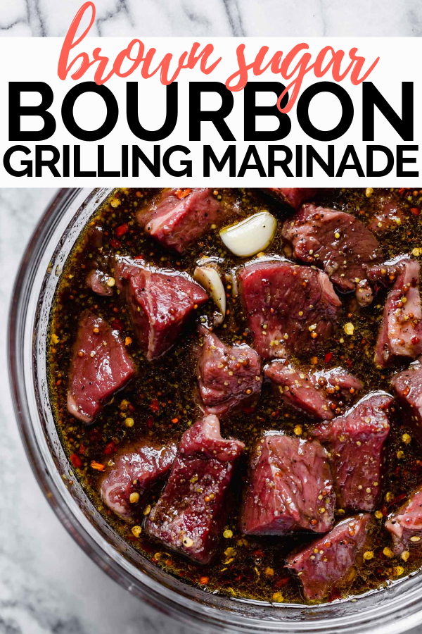 Tangy, sweet, & rich, this brown sugar bourbon marinade feels majorly fancy but couldn't be easier to throw together! It is made with pantry ingredients (brown sugar, balsamic vinegar, garlic, mustard, & some dried spices!) & a heavy pour of bourbon - of course! #playswellwithbutter #brownsugarbourbon #bourbon #bourbonchicken #easymarinade #grillingrecipes #chickenmarinade #porkmarinade