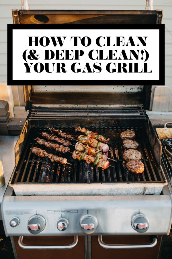 How to clean and deep clean your grill graphic with text overlay for Pinterest.