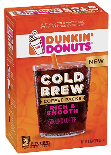 Dunkin' Donuts Cold Brew Coffee Packs Smooth & Rich Ground Coffee