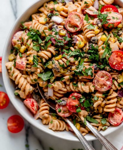 vegan southwest pasta salad in a bowl.