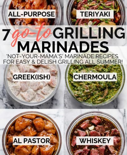 get ready to achieve major flavor with little effort on your grill this summer! 7 delicious grilling marinade recipes to keep in your back pocket as you gear up for grilling season, including my family's teriyaki sauce recipe, a greek-inspired yogurt marinade, moroccan chermoula, middle eastern shawarma, our house marinade, & more! if you're planning on grilling at all this summer, be sure bookmark this blog post or pin it for later! #playswellwithbutter #marinaderecipe #easymarinade #grillingrecipes #steakmarinade #chickenmarinade #porkmarinade #vegetablemarinade