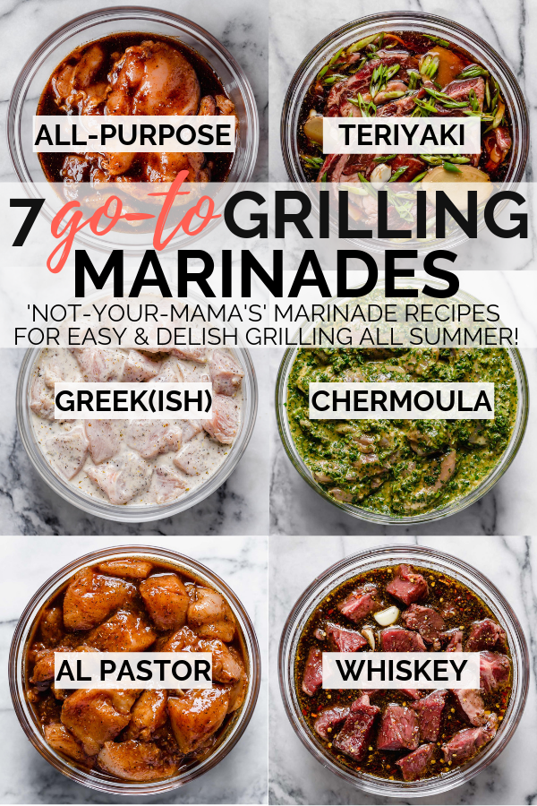 7 delicious grilling marinade recipes to keep in your back pocket as you gear up for grilling season, including my family's teriyaki sauce recipe, a greek-inspired yogurt marinade, moroccan chermoula, middle eastern shawarma, our house marinade, & more! #playswellwithbutter #marinaderecipe #easymarinade #grillingrecipes #steakmarinade #chickenmarinade #porkmarinade #vegetablemarinade