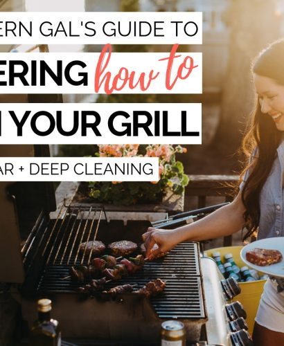 the modern gal's guide to mastering how to clean (& deep clean!) your grill this summer. cleaning your grill regularly is, hands down, the most important thing you can do to keep it burning the way it's designed to. this post will show you how to properly clean your grill after every use, as well as how to deep clean a gas grill at the beginning of the grilling season. #playswellwithbutter #grilling #grillingtips #grillingstation #outdoorgrilling #grillingDIY #howtogrill #howtocleangrill #howtocleangrillgrates #grillingforbeginners