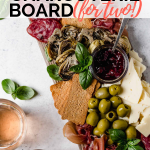 summer picnic charcuterie board graphic for pinterest with text overlay
