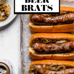 Wisconsin Grilled Beer Brats graphic with text overlay for Pinterest.