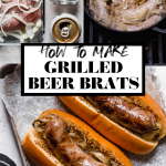 How to Make Wisconsin Grilled Beer Brats graphic with text overlay for Pinterest.