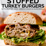 Stuffed Southwest Turkey Burgers recipe graphic with text overlay for Pinterest.