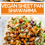 Sheet pan veggie shawarma with text overlay for Pinterest.