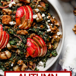 Autumn Kale Salad with text overlay for Pinterest.
