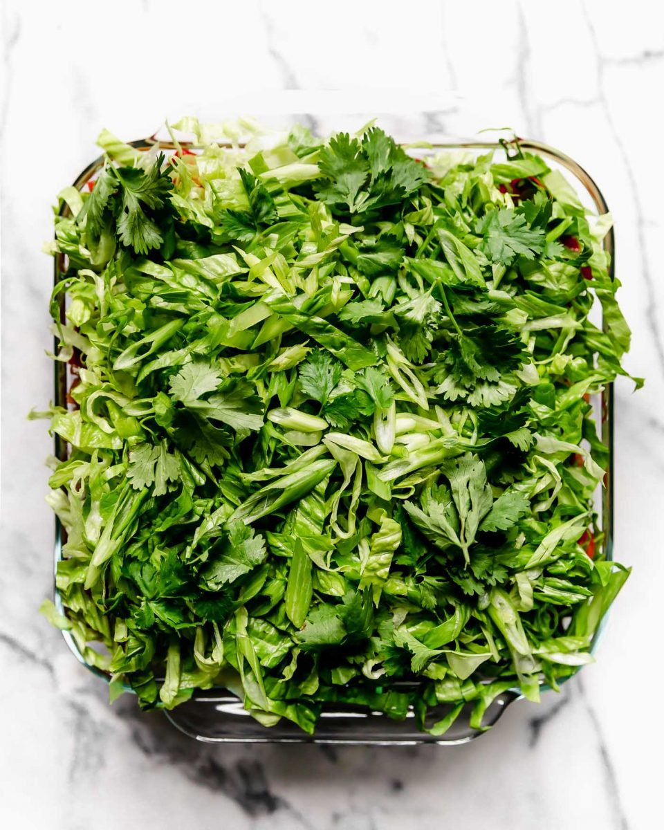 Vegan 7-Layer Dip Recipe Layer #6-7: Shredded Lettuce, Cilantro & Green Onions