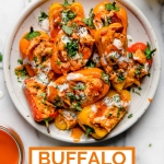 Buffalo Chicken Poppers Recipe with graphic text overlay for Pinterest.