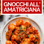 Gnocchi all'Amatriciana with graphic text overlay for Pinterest.