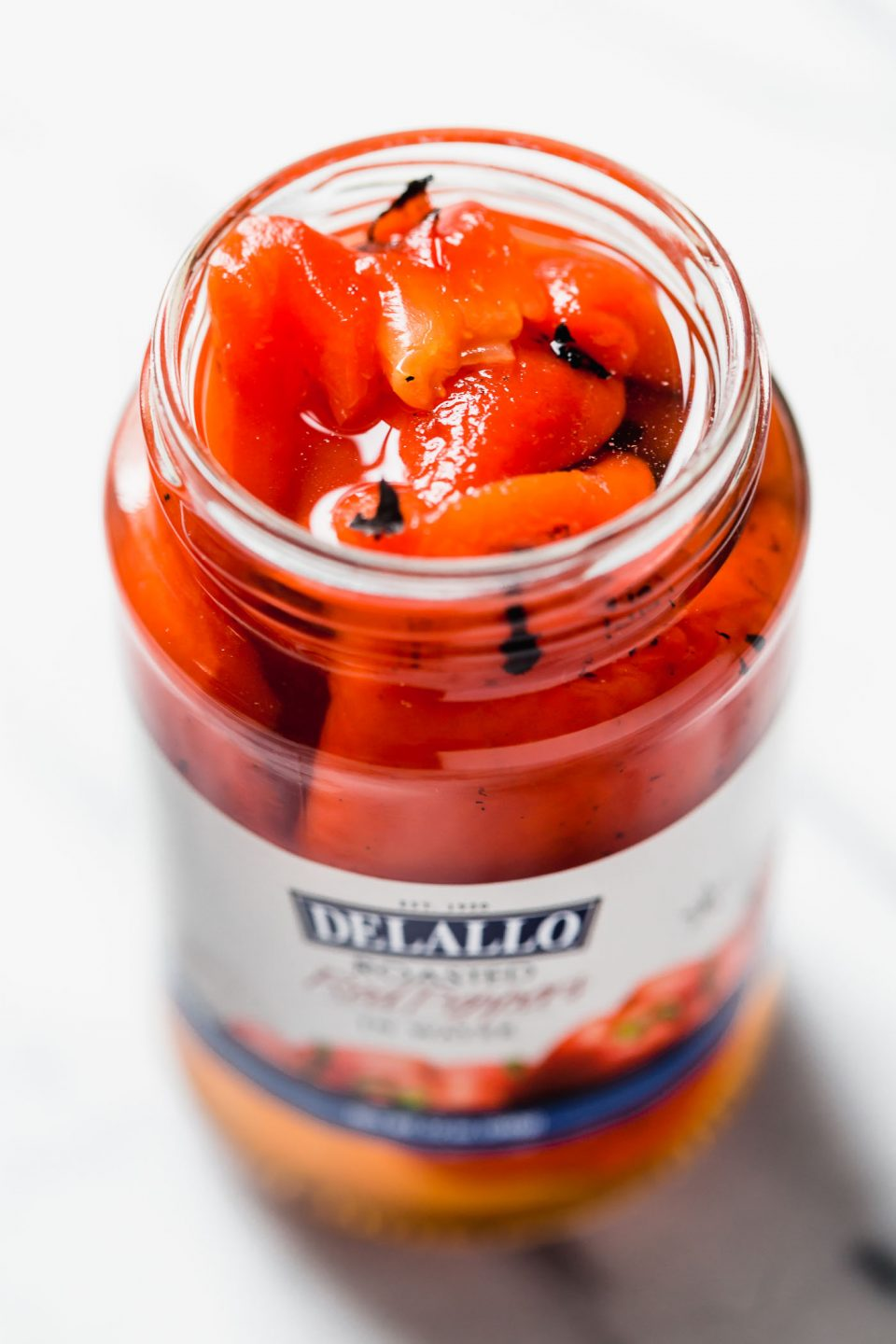 Jar of DeLallo roasted red peppers