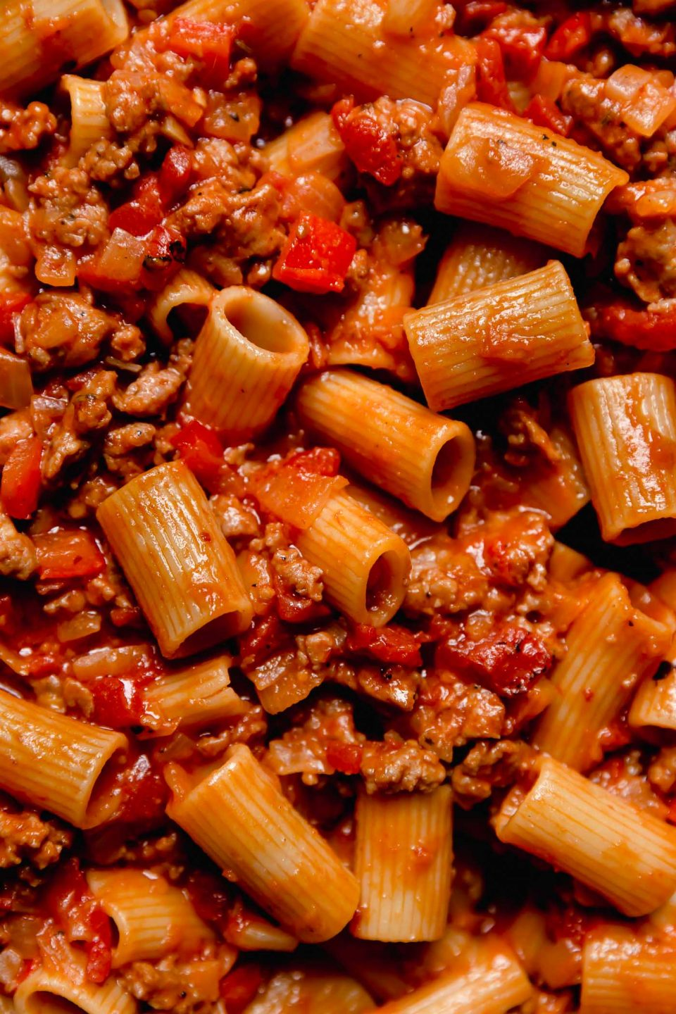 Close up shot of the sausage & peppers pasta.