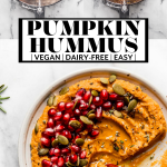 Creamy Pumpkin Hummus Recipe with text overlay for Pinterest