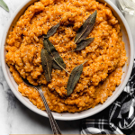 No-Stir Pumpkin Risotto with graphic text overlay for Pinterest.