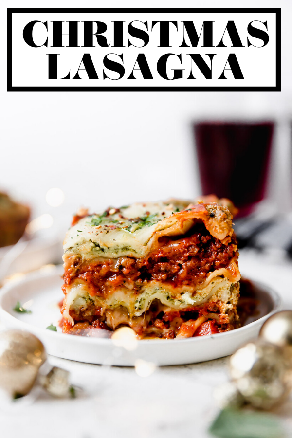 Christmas Eve Lasagna with graphic text overlay for Pinterest.
