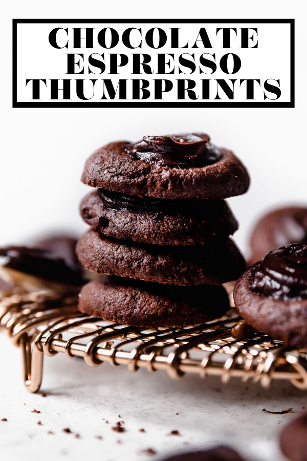 Double Chocolate Thumbprint Cookies with graphic text overlay for Pinterest.