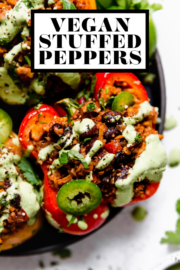 Vegan Stuffed Peppers with graphic text overlay for Pinterest.