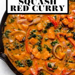 Butternut Squash Red Curry with graphic text overlay for Pinterest.