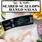 Healthy Seared Scallops with Mango Rice graphic with text overlay for Pinterest.