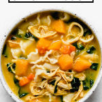 Golden Chicken Soup graphic with text overlay for Pinterest.