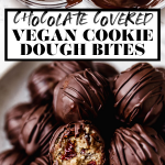 Vegan Cookie Dough Bites with graphic text overlay for Pinterest.