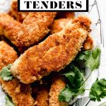 Crispy Coconut Chicken Tenders with graphic text overlay for Pinterest.