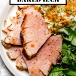 Citrus & Maple Glazed Ham with graphic text overlay for Pinterest.