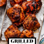 Grilled BBQ Chicken with graphic text overlay for Pinterest.