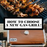 How to choose a new gas grill graphic with text overlay for Pinterest.