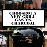 Choosing a new grill: gas vs. charcoal graphic with text overlay for Pinterest.