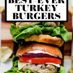 Grilled turkey burgers with graphic text overlay for Pinterest.