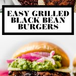 Easy Grilled Black Bean Burgers graphic with text overlay for Pinterest.
