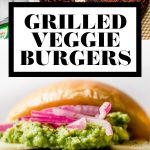 Grilled Veggie Burgers graphic with text overlay for Pinterest.