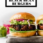 Grilled Black Bean Burgers graphic with text overlay for Pinterest.