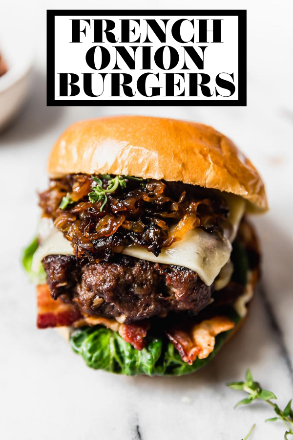 French Onion Burgers with graphic text overlay for Pinterest.