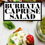 Tomato Burrata Salad with graphic text overlay for Pinterest.